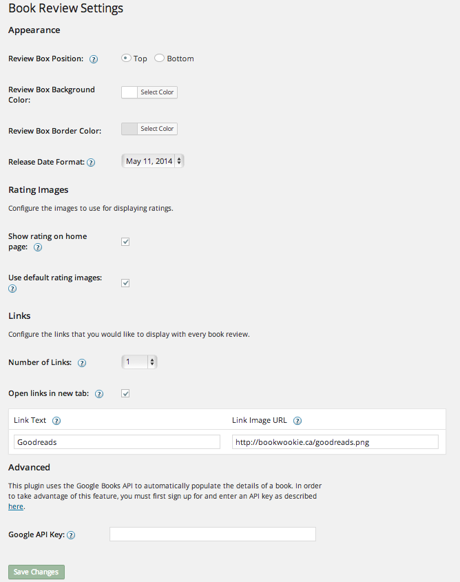 WordPress Book Review Plugin Settings