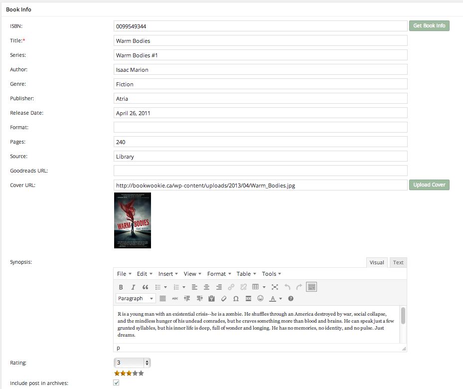 WordPress Book Review Plugin Book Info